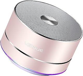 Lenrue A2 Bluetooth スピーカー ポータブル ブルートゥース スピーカー ミニ ワイヤレススピーカー 高音質 低音強化 3W拡声器 マイク内蔵、LEDライト、AUXケーブル、TFカード、Micro USB、iPhone/iPad/Android/タ ブレットなどに対応(ローズゴールド)