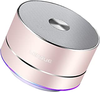 LENRUE Portable Wireless Bluetooth Speaker with Built-in-Mic,Handsfree Call,AUX Line,TF Card,HD Sound and Bass for iPhone Ipad Android Smartphone and More (Rose Gold)