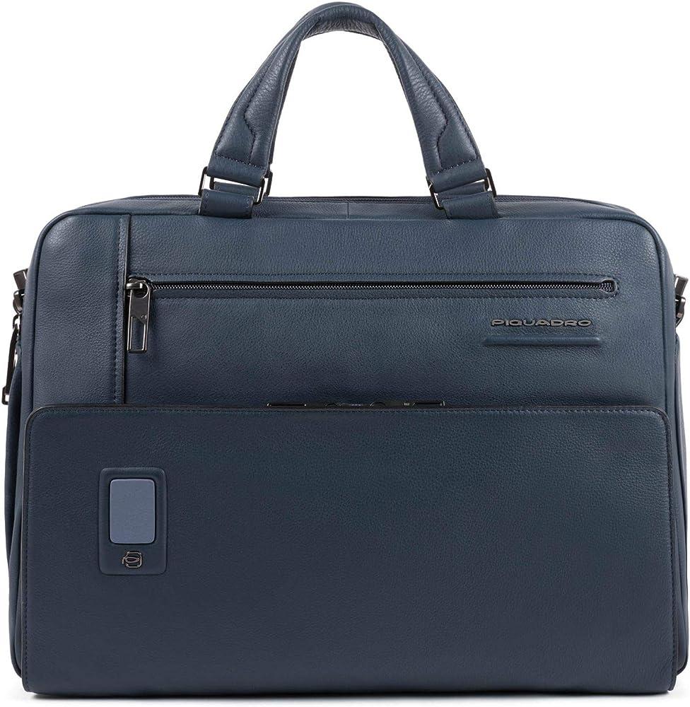 Piquadro, cartella, borsa porta pc portatile,in vera pelle scomparti  imbottiti per laptop e tablet CA5108AO-BLU