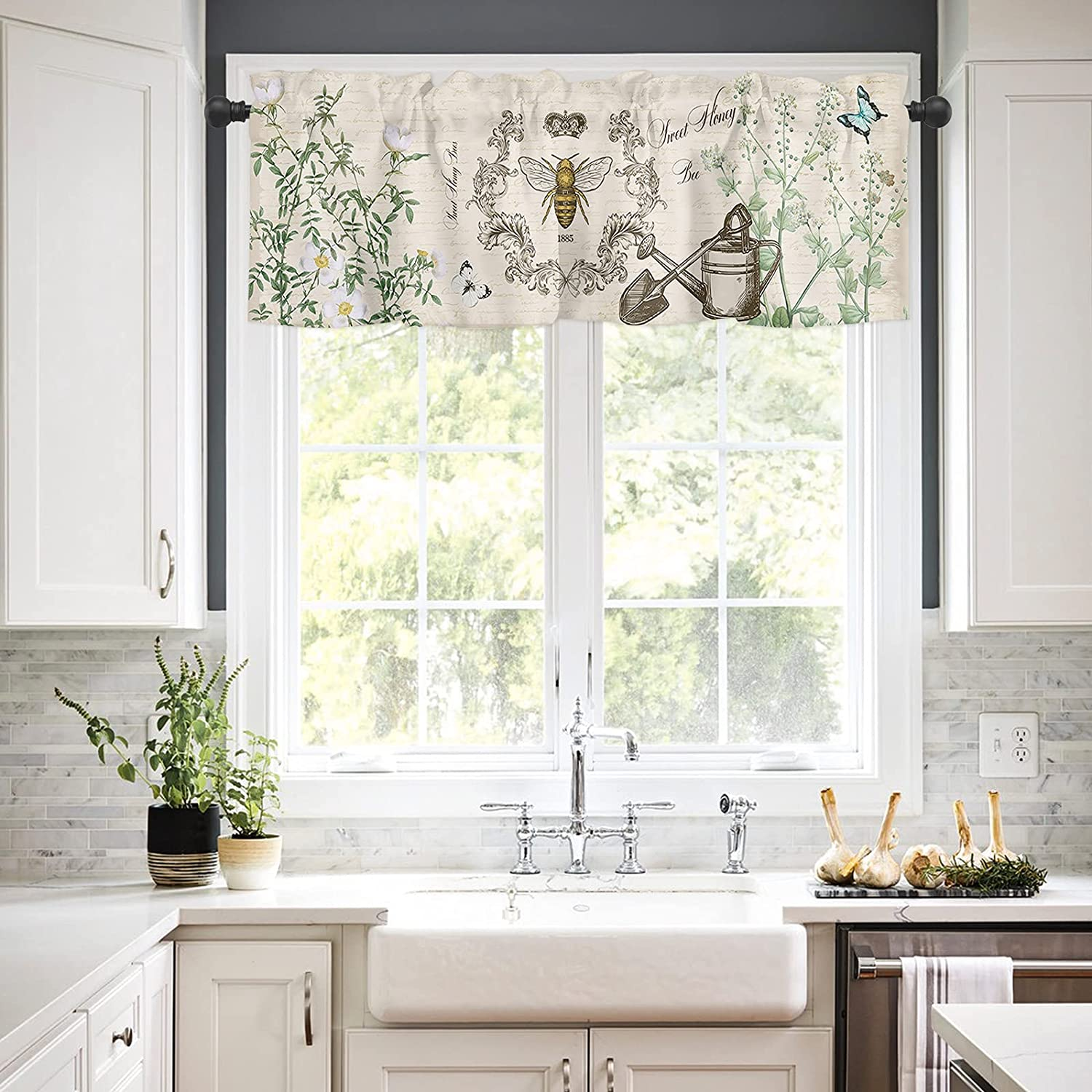 Rod Pocket Window Valances Excellence Curtains and for Kitchen Bee NEW Vintage
