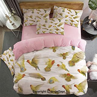 AngelSept 3 Piece Twin Bed Set Includes Reversible Comforter & Sheet Set Collection of Flying Rosy Peach Faced Love Birds Wild Life Colored Feathers Wings Home Super Soft Fade Resistant