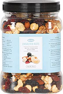 WDJSSH Deluxe Unsalted Mixed Nuts Bulk 18oz Trail Mix Low Sodium Snack & Seeds No Sugar raw Nut Protein Almonds And Cashew...