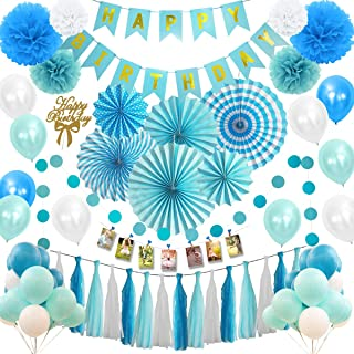 Musebits Blue and White Birthday Party Decorations Essential 100Pcs, Including Cake Topper, Photo Clips, Paper Fans, Pom P...