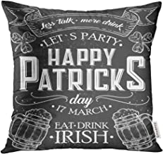 UPOOS Throw Pillow Cover Happy St Patrick Day of Irish Holiday with Lettering Drawing for Pub Bar Clover Beer on Chalkboard Decorative Pillow Case Home Decor Square 20x20 Inches Pillowcase