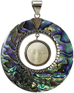 Carved Bone Face Pendant with Abalone Shell