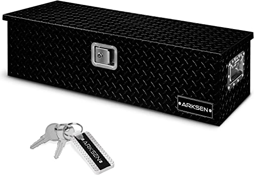 """ARKSEN 39"""" Aluminum Diamond Plate Tool Box Chest Box Pick Up Truck Bed RV Trailer Toolbox Storage With Side Handle And Lock Keys, Black: image"""