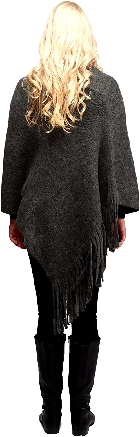 Solid Color Sweater Poncho Shrug with Fringe for Women