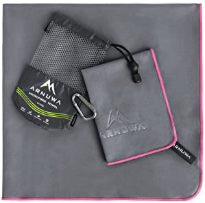 ARNUWA Microfiber Travel Towel Set - Quick Dry Ultra Absorbent Compact - Great for Camping, Hiking, Yoga, Sports, Swi...