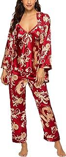 HOUSEPLANT Women's Floral Silk Satin Pajamas Set Sleepwear 3Pcs Nightwear Long Sleeve Pyjamas with Belt