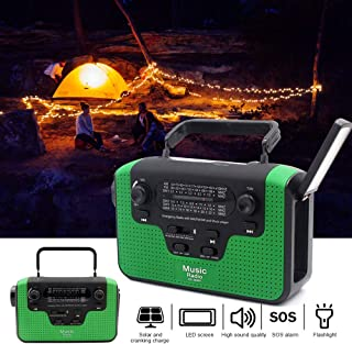 Goofly Multiple Use Solar Powered Or Power Generation by Hand FM Radio with TF BT Flashlight USB Charging Emergency Charge...