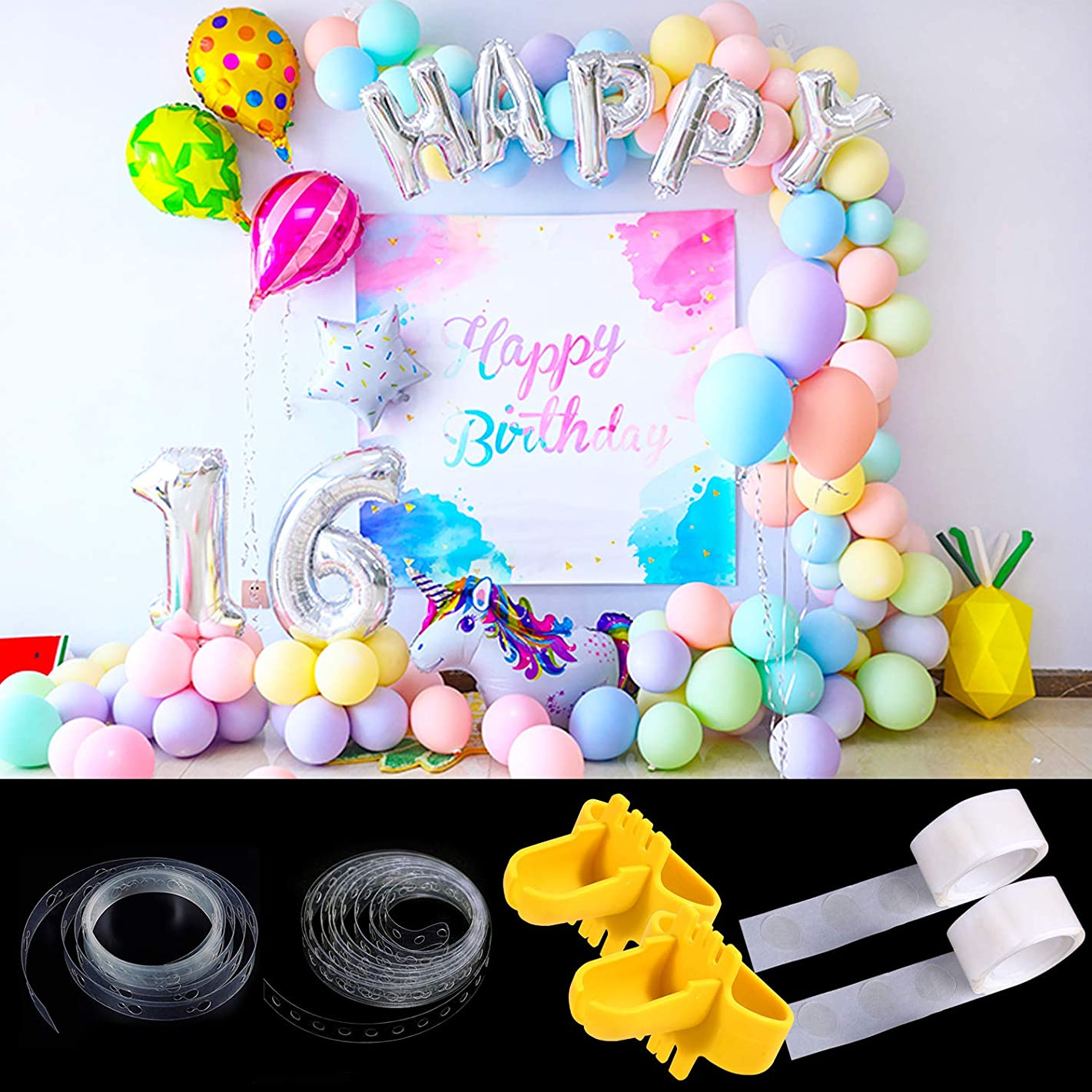 NXGEN Balloon Arch Garland Decorating Strip Kit 2 Rolls 32 Feet Balloon Tape Strips with 2 Rolls Balloon Glue Point Dots Stickers (Tying Tool Sent Randomly)