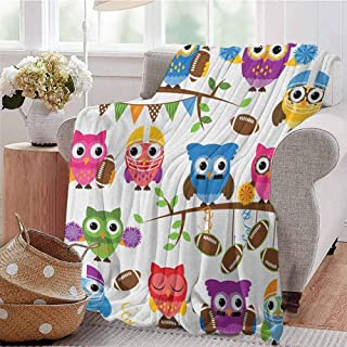 Luoiaax Owls Bedding Microfiber Blanket Sporty Owls Cheerleader League Team Coach Football Themed Animals Cartoon Art Style Super Soft and Comfortable Luxury Bed Blanket W70 x L70 Inch Multicolor