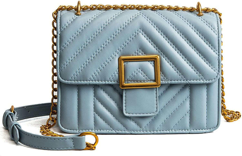 FangYOU1314 Casual Candy Farbe Gestickte Linie Check Schnalle Kette Kette Kette Schulter Messenger Bag Handtasche (Farbe   Blau) B07FF5QP64  Praktisch und wirtschaftlich cf1980