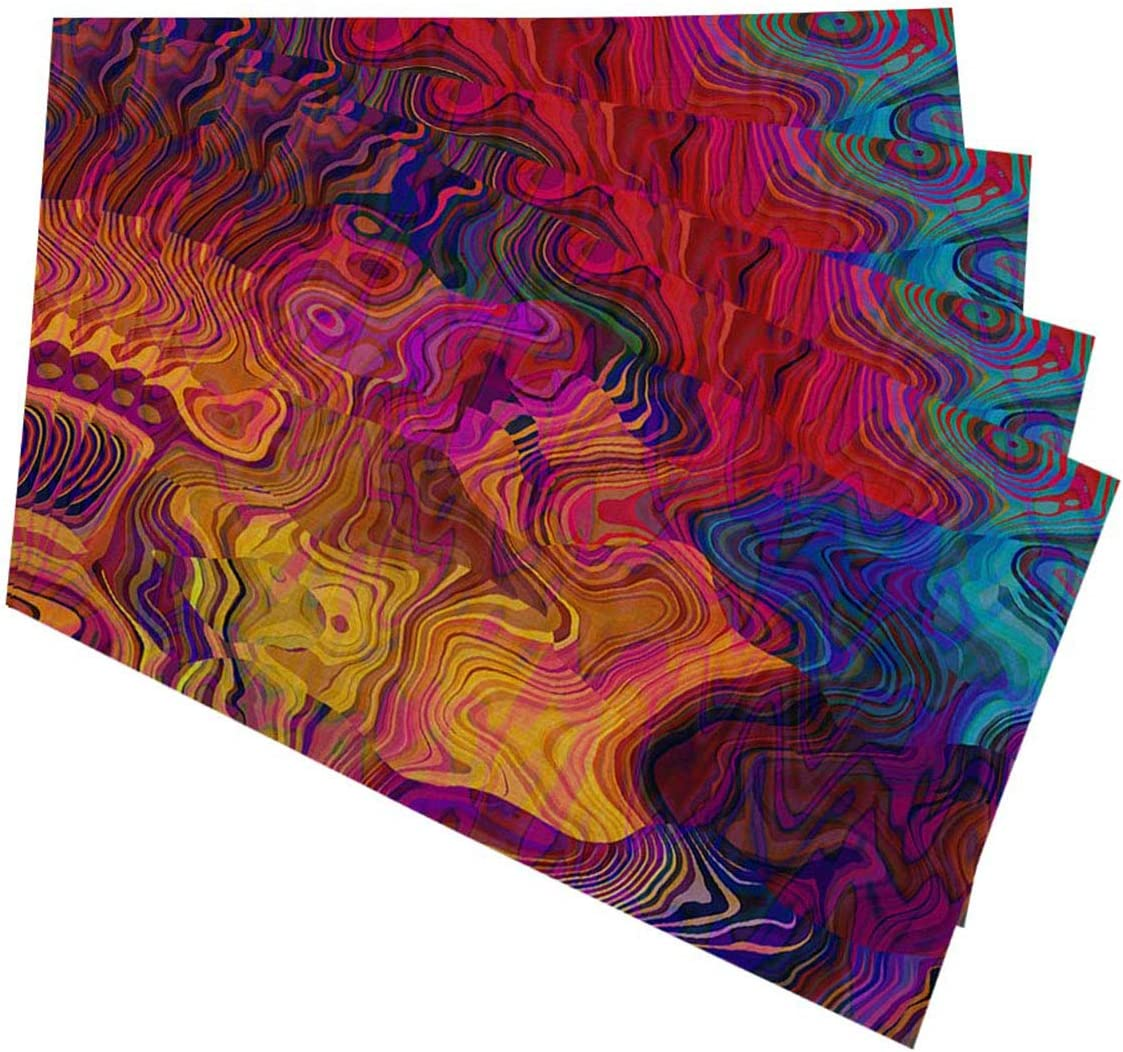 Mugod Colorful Chaotic Waves Max 50% OFF Placemats Purple Fuchsia Pink Red O Cheap mail order specialty store