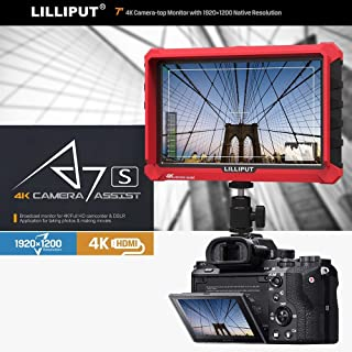 Lilliput A7S 7 Inch On Camera Field Monitor Supports 4K HDMI Input Loop Output 1920x1200 Resolution 1000:1 Contrast 500cd/...