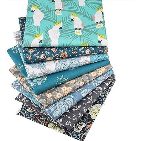 XiYee Tissus en Couture, Tissus en Coton pour Patchwork, Paquets de Tissus pour Patchwork et Patchwork de, Tissu au Metre Patchwork Multicolore (8 pièces 50 x 50 cm 01)