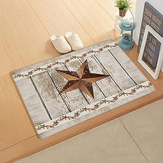 InvisibleWings Doormat Indoor Floor Mat Soft Rug Western Texas Star Rustic Wood Farm Pattern Kitchen/Bathroom/Bedroom/Fron...