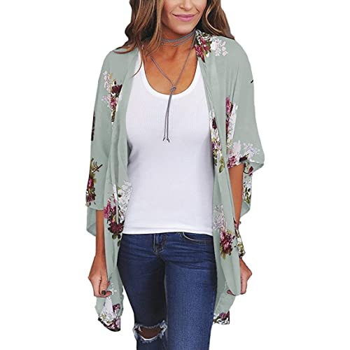 53ce0edcf94b ECOWISH Womens Floral Print Loose Puff Sleeve Kimono Cardigan Lace  Patchwork Cover Up Blouse