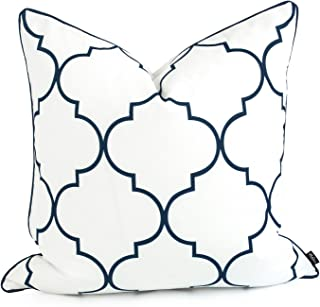 Hofdeco Spring Indoor Outdoor Cushion Cover ONLY, Water Resistant for Patio Lounge Sofa, White Navy Moroccan Quatrefoil, 5...