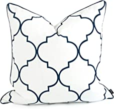 Hofdeco Decorative Throw Pillow Cover Indoor Outdoor Water Resistant Canvas Spring Navy Blue Moroccan Quatrefoil 20x20