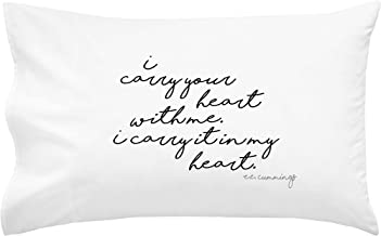 Oh, Susannah I Carry Your Heart with Me. I Carry It in My Heart Pillowcase - Black - (1 20x30 Queen Size Pillowcase Wedding Anniversary Decoration Missing You Gifts