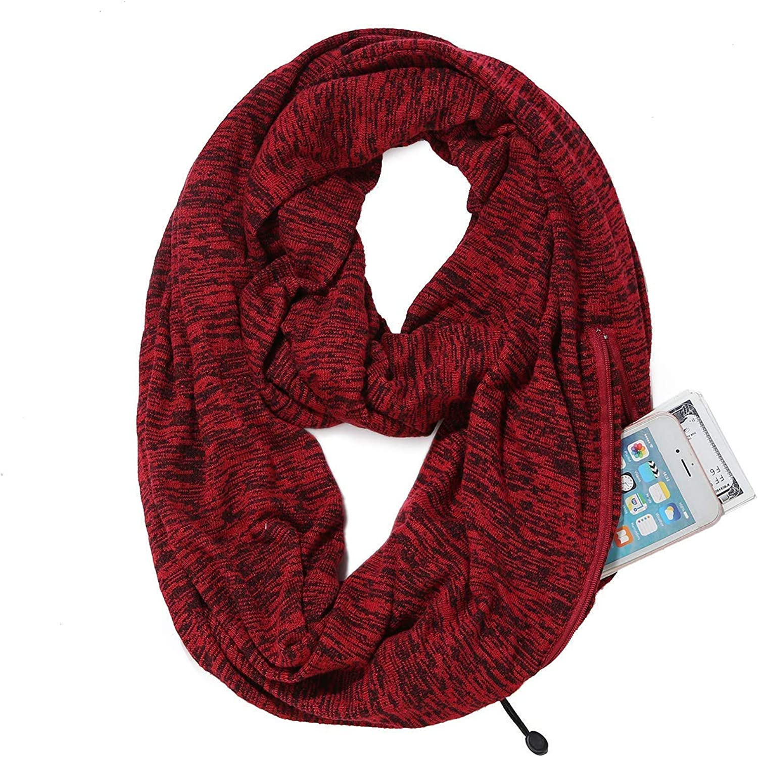2 in 1 Slouchy Knit Cable Congreenible Infinity Scarf with Pocket