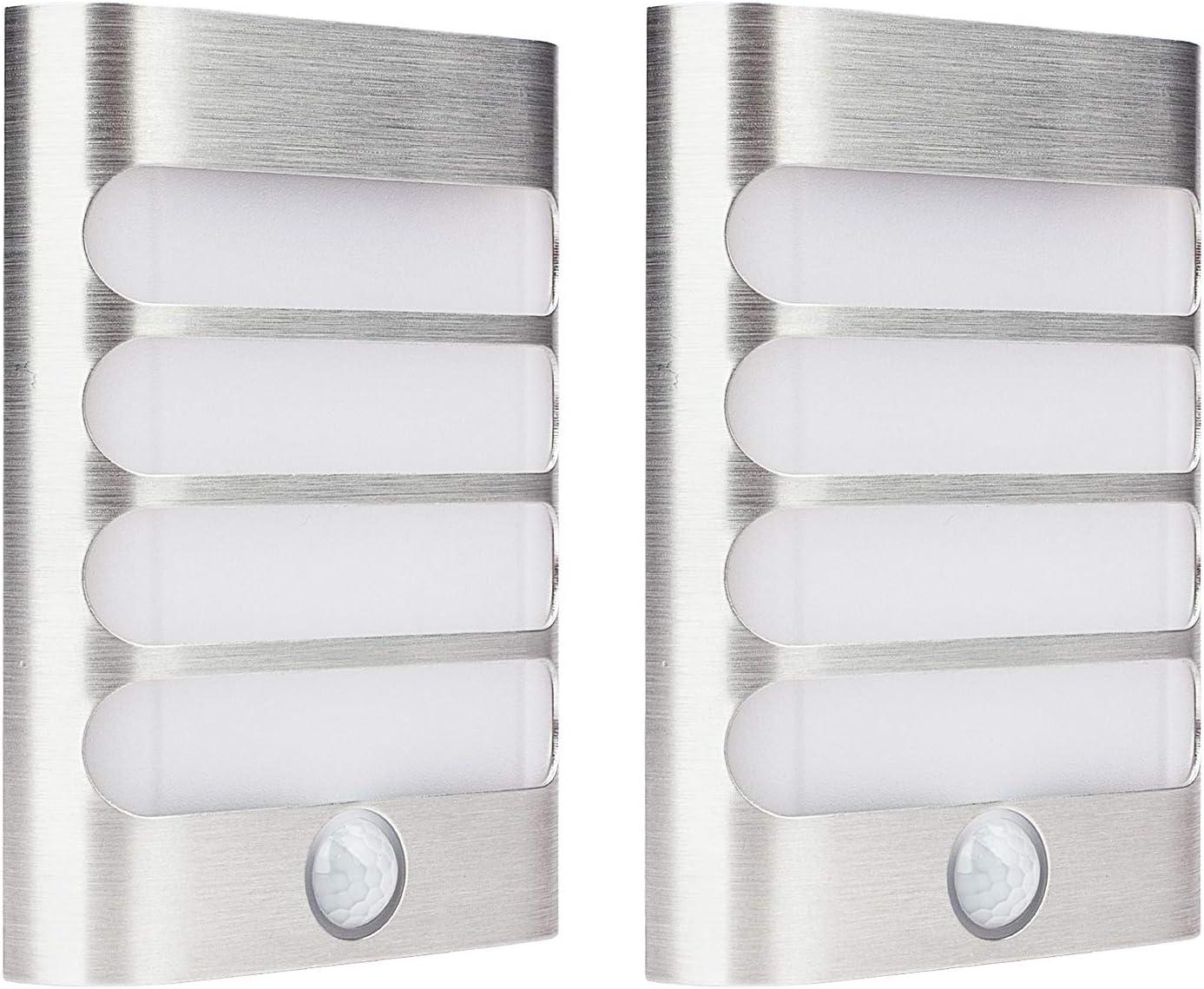 2-Pack Leadleds Luxury Aluminum Stick Anywhere Bright Motion Sen
