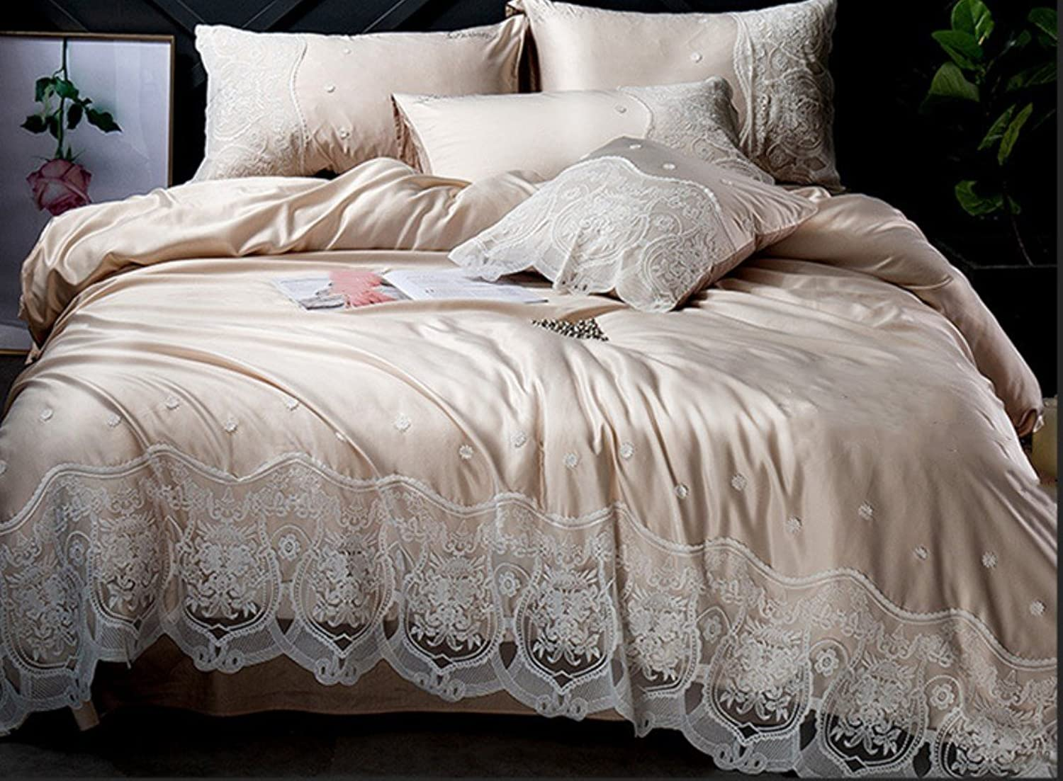 European Cotton Wash Satin Lace Four Sets of Simple Solid color Ice Silk Quilt Sheets Spring Summer Bedding ZXCV (color   Khaki, Size   200  230cm)