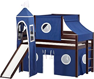 JACKPOT! Castle Low Loft Bed with Slide Blue & White Tent and Tower, Loft Bed, Twin, Cherry