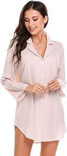 Avidlove Womens Sleep Shirt Luxury Sleepwear Long Sleeve Button-Front Nightshirts