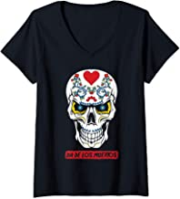Womens Sugar Skull Flowers Dia De Los Muertos Calavera Pun   V-Neck T-Shirt