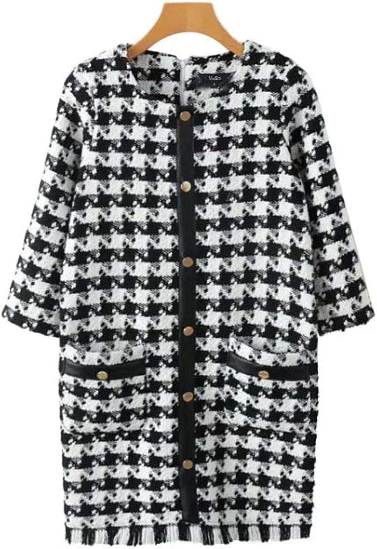 XUVR Women's Tweed Plaid Warm Dress Houndstooth Tassels Vintage Dress Pockets