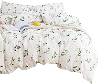 Wake In Cloud - Tree Leaves Duvet Cover Set, 100% Cotton Bedding, Green Botanical Plant Leaves and Dots Modern Pattern Printed on White, with Zipper Closure (3pcs, Queen Size)