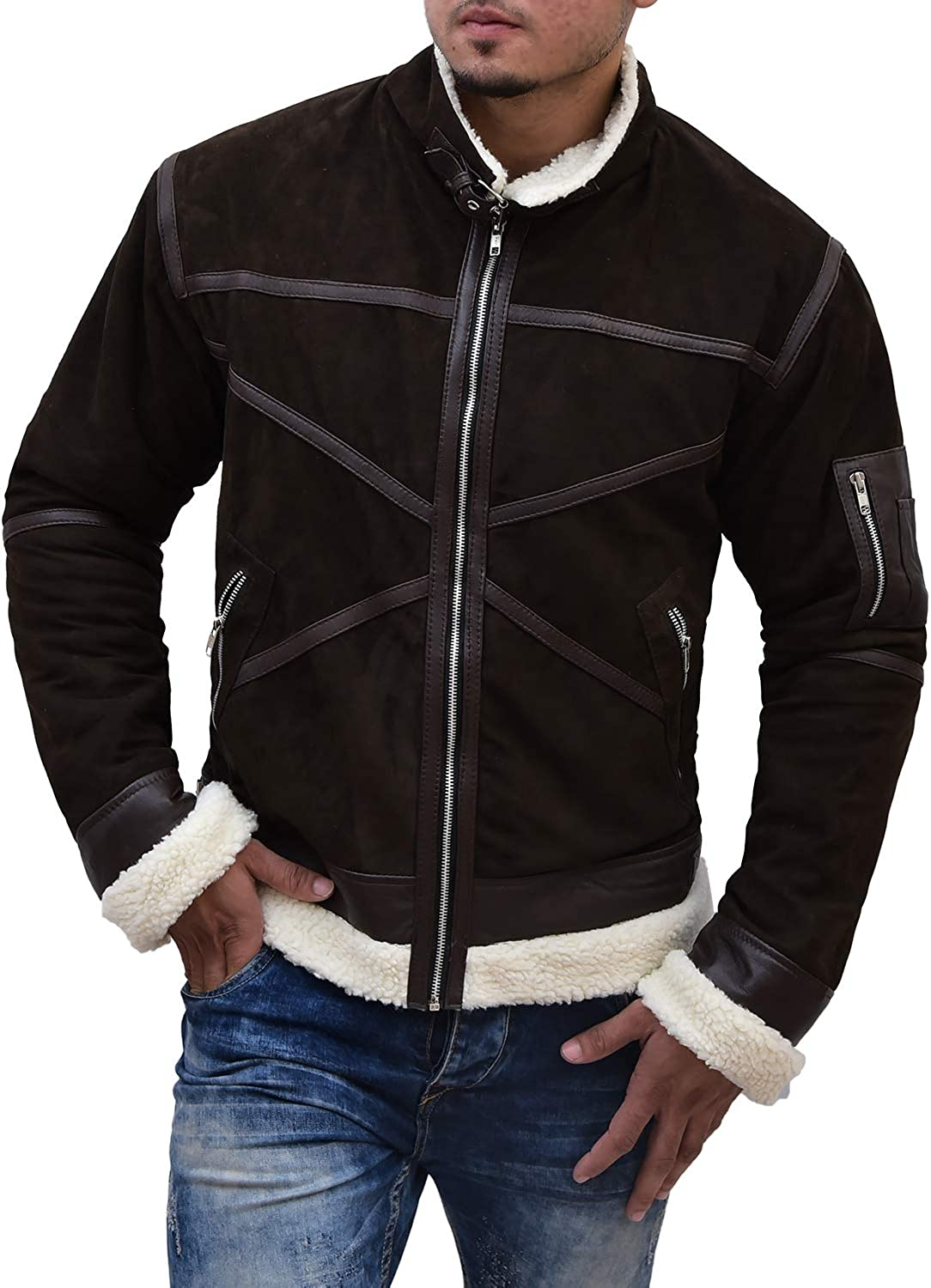 Abbraci Men's Winter Faux Leather Jacket Brown Motorcycle Bomber Shearling Suede Stand Collar Fur Collar Jacket Men Coat