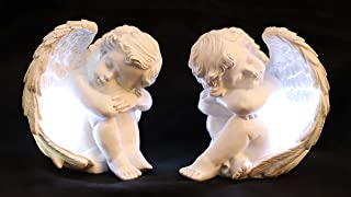 JUNIQUTE Sleepy Time Little Angel with Light Cupid Garden Statue Home Decor Cherub Statue Baby Sculpture Figurine Set of 2