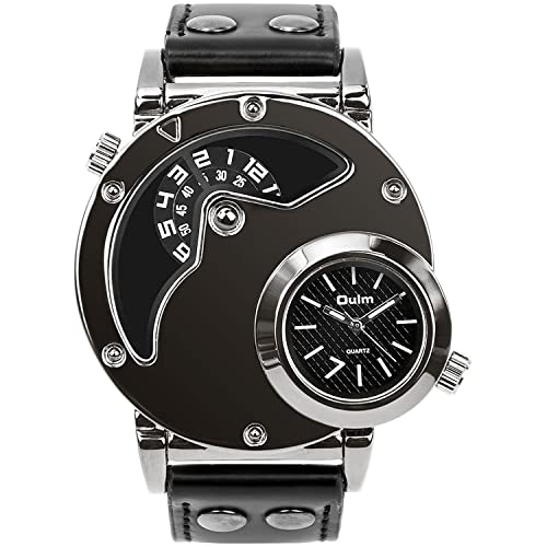 Mens Unique Analog Watch, Aposon Fashion Dress Quartz Wrist Watch with Dual Dial Cool Design