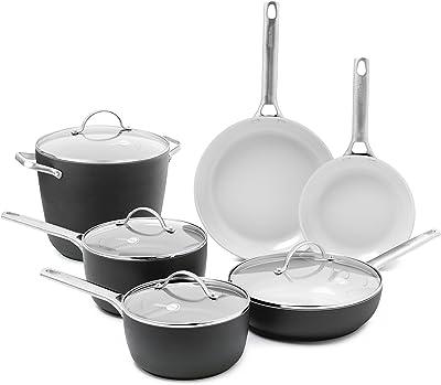 GreenPan Padova Ceramic Non-Stick 10Pc Cookware Set, Grey