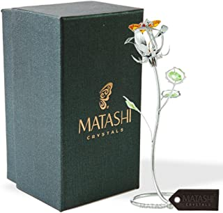 Mother's Day Gift - Chrome Plated Silver Rose Crystal Studded