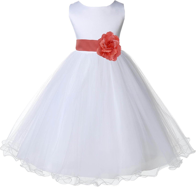 White Flower Girl Dress Coral Guava Dark Teal Blue Cadbury Sunbeam Gray R19S