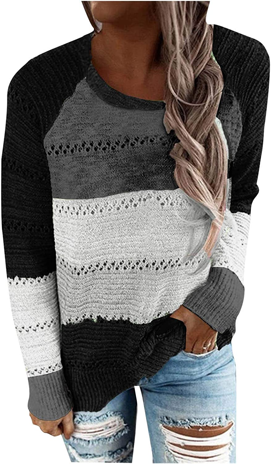 FABIURT Women's Color Block Casual Sweaters Long Sleeve Crew Neck Drawstring Knitted Pullover Tops Blouse Sweatshirts