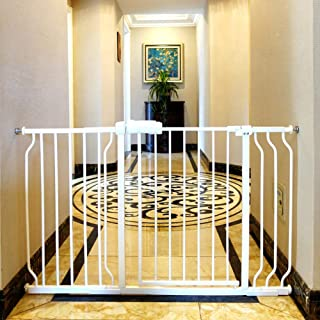 ALLAIBB Walk Through Baby Gate  Auto Close Tension White Metal  Child Pet Safety Gates with Pressure Mount for Stairs,Doorways and Baniste 52.7-57.5 in