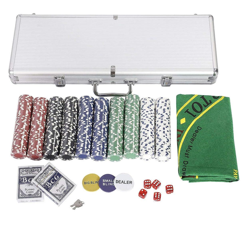 FDInspiration Casino-Quality Texas Hold'em Cards Poker Dice Chip Set of 500 w/Aluminum Case with Ebook