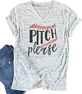 BANGELY Pitch Please T Shirt Baseball Mom Tees Graphic Letter Shirt Casual V-Neck Tops Shirt Blouses