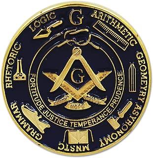 7 Liberal Arts Working Tools Round Blue Masonic Lapel Pin - 1