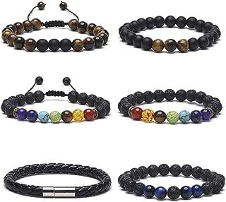 6 Pcs Beaded Bracelets for Women Men Lava Rock 7 Chakras Healing Bracelet with Real Stones Tiger Eye Beads Yoga Mens Leather Bracelet Set Elastic Adujstable