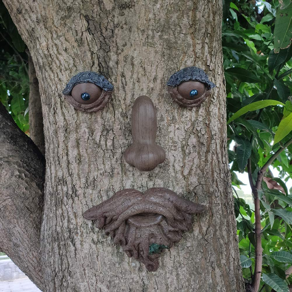 Roots with Leaf Tree Face Statue Garden Hugger Peeker Max 81% OFF Figur Super-cheap