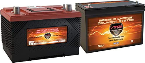 VMAX XCA27 & QTY1 MR127 12V 1000MCA AGM Dp Cycle Group 27 Compatible with SLA Gas Engine and TROLLING Motor Battery & 100AH DEEP Cycle AUX Battery
