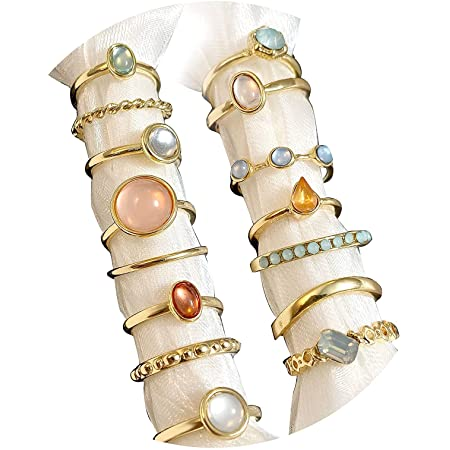 Vintage Crystal Knuckle Rings Set for Women Teen Girl, Gold Silver Rings,Stackable Joint Rings Set,BOHO Rings