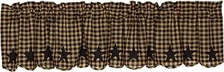 VHC Brands Black Star Rod Pocket Valance in Black and Tan