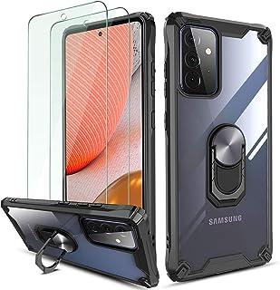QHOHQ Hoesje voor Samsung Galaxy A72 4G/5G met 2 Pack Gehard Glas Screen Protector, [360 ° Roterende Stand] [5 keer Milita...